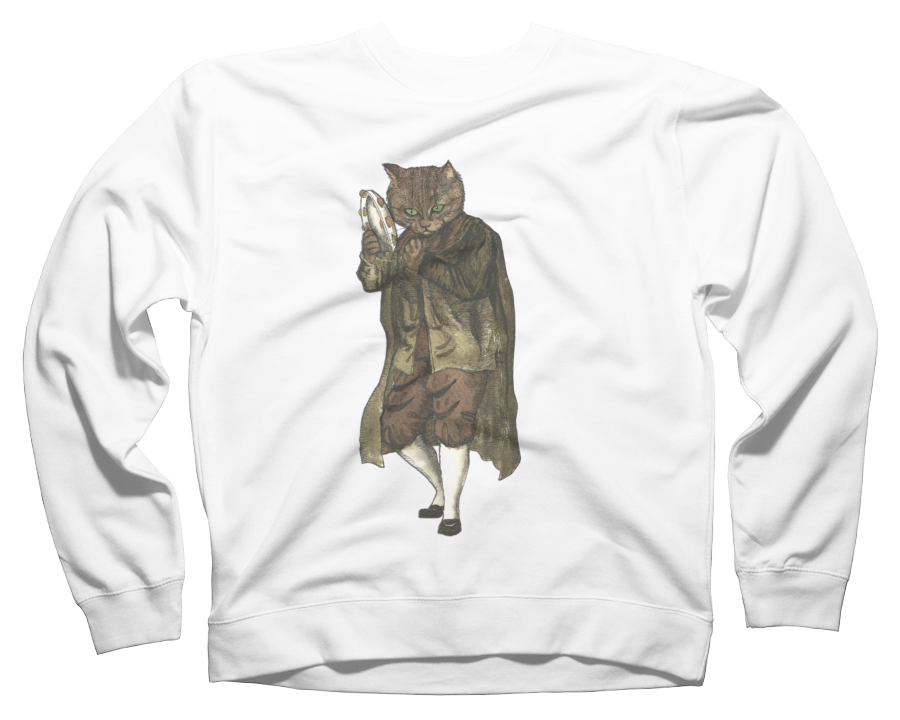 Dancing Cat Plays Tambourine Crew Neck Sweatshirt