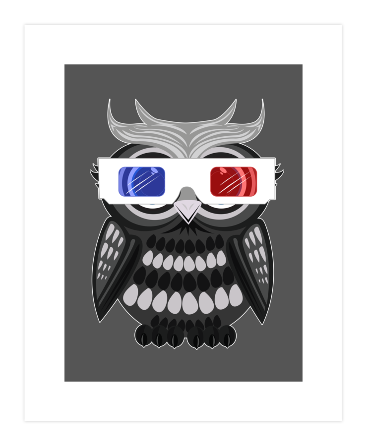 Owl 3D Glasses Art Print 213064
