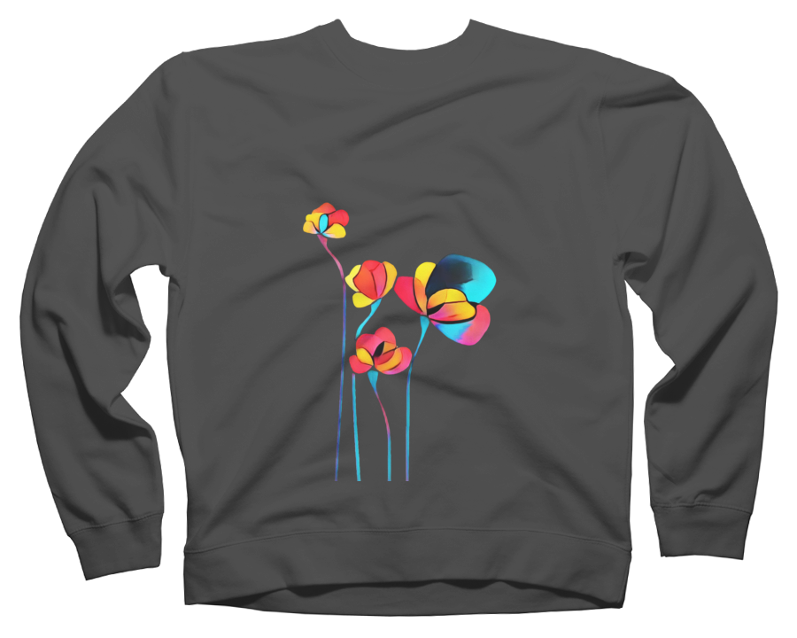 Abstract Flowers Crew Neck Sweatshirt