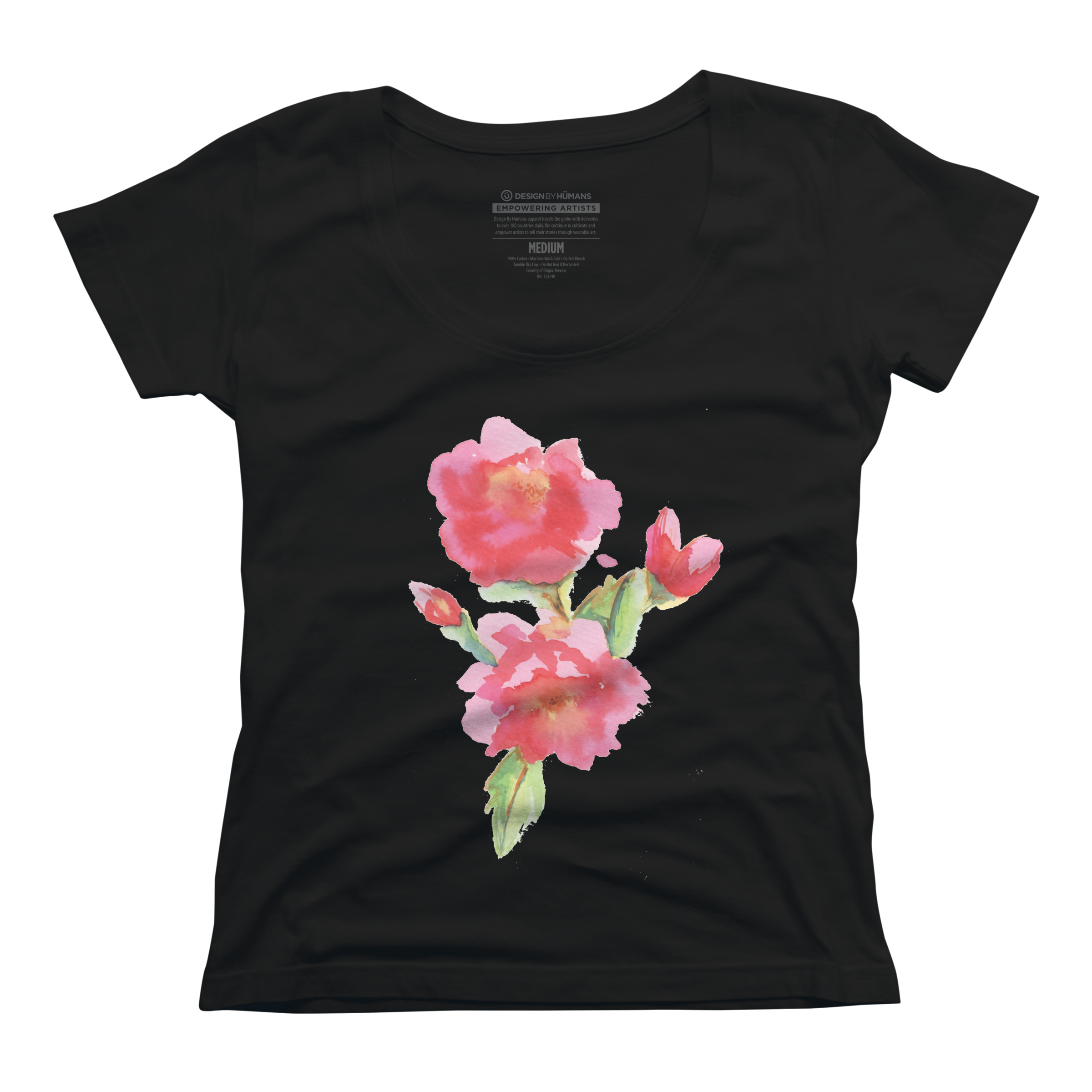 Water Color Roses Womens Scoop Neck T Shirt 585060