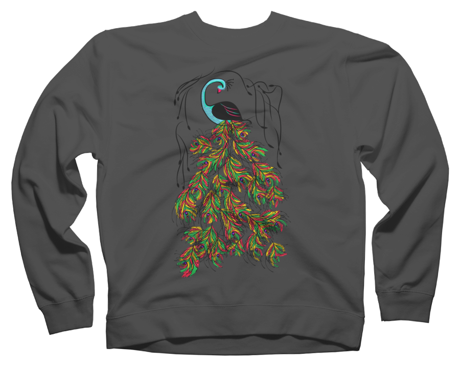 Vibrant Jungle Peacock Crew Neck Sweatshirt 69410