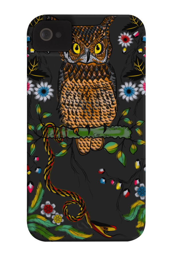 Vibrant Jungle Owl and Snake Barely There Phone Case 70072
